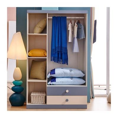 Set mobilier Bingo din MDF si lemn masiv stejar pentru camera copii 4 piese: pat 120 x 190cm, noptiera, dulap 3 usi, birou -cod 892112