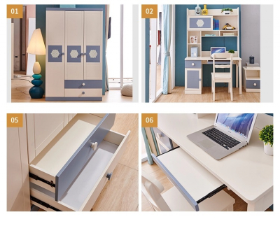 Set mobilier Robin din MDF si lemn masiv stejar pentru camera copii 4 piese: pat 120 x 190cm, noptiera, dulap 3 usi, birou -cod 891814