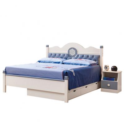 Set mobilier Bingo din MDF si lemn masiv stejar pentru camera copii 4 piese: pat 120 x 190cm, noptiera, dulap 3 usi, birou -cod 89215