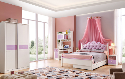 Set mobilier Sofia din MDF si lemn masiv pentru camera copii 4 piese: pat 120 x 190cm, noptiera, dulap 3 usi, birou -cod 8922 [0]