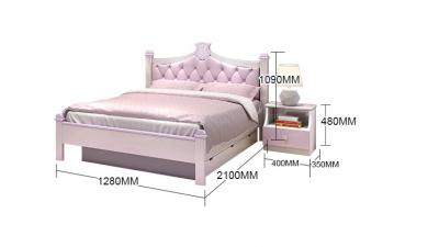 Set mobilier Aurora din MDF si lemn masiv stejar pentru camera copii 4 piese: pat 120 x 190cm, noptiera, dulap 3 usi, birou -cod 89206