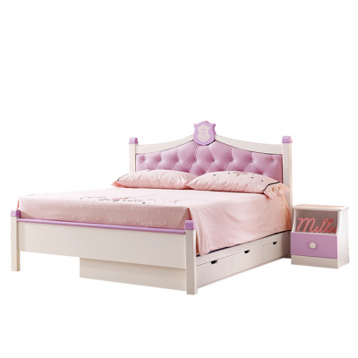 Set mobilier Aurora din MDF si lemn masiv stejar pentru camera copii 4 piese: pat 120 x 190cm, noptiera, dulap 3 usi, birou -cod 89205