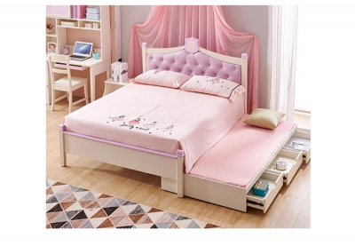 Set mobilier Aurora din MDF si lemn masiv stejar pentru camera copii 4 piese: pat 120 x 190cm, noptiera, dulap 3 usi, birou -cod 89202