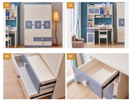Set mobilier Football din MDF si lemn masiv pentru camera copii 4 piese: pat 120 x 190cm, noptiera, dulap 3 usi, birou -cod 8911 [1]