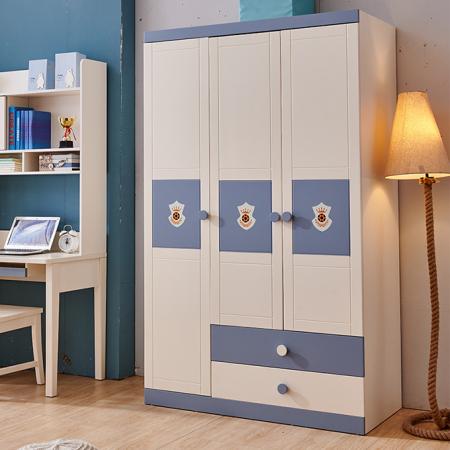 Set mobilier Football din MDF si lemn masiv pentru camera copii 4 piese: pat 120 x 190cm, noptiera, dulap 3 usi, birou -cod 8911 [3]