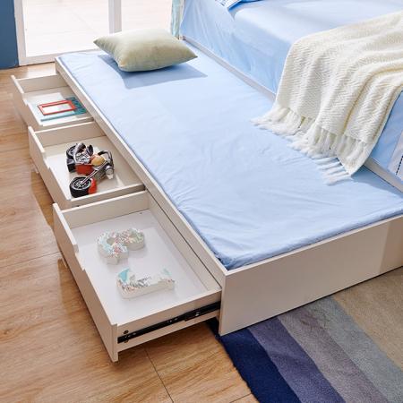 Set mobilier Guarddin MDF si lemn masiv pentru camera copii 4 piese: pat 120 x 190cm, noptiera, dulap 3 usi, birou -cod 8913 [4]