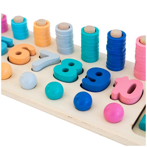Joc logaritmic 3 in 1 din lemn de numărare, stivuire si sortare cu blocuri matematice de formă si bilute colorate 2