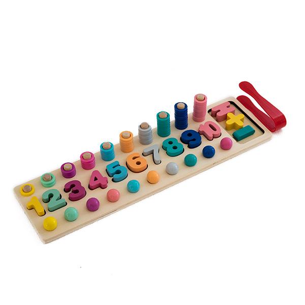Joc logaritmic 3 in 1 din lemn de numărare, stivuire si sortare cu blocuri matematice de formă si bilute colorate 0