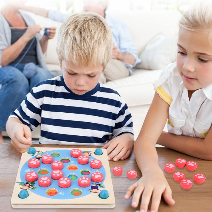 Joc din lemn 4 in 1 Multifunctional Memory Chess 4