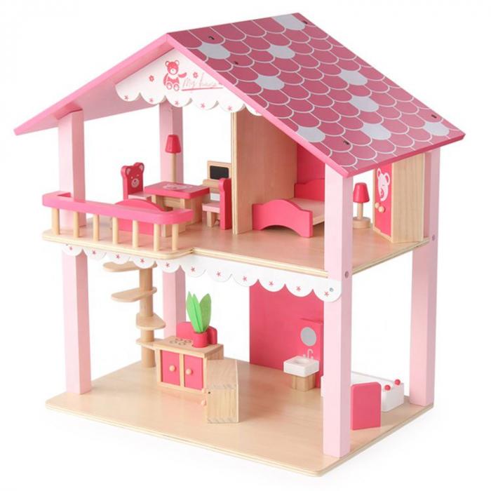 Căsuță de păpuși roz realizată manual cu mobilier și jucării educative din lemn pentru fete 1