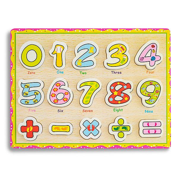 Puzzle din lemn cu cifre cu floricele si stelute si simboluri 0