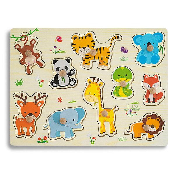 Puzzle din lemn cu pui de animale salbatice 0