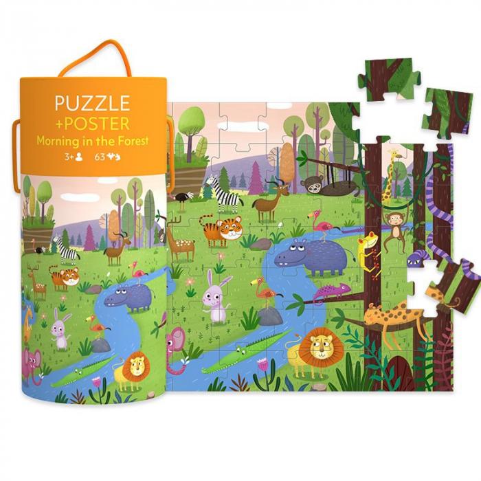 """Puzzle 63 piese """"Dimineață în pădure""""  în cutie cilindrică 1"""
