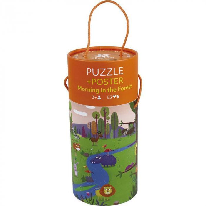 """Puzzle 63 piese """"Dimineață în pădure""""  în cutie cilindrică 0"""