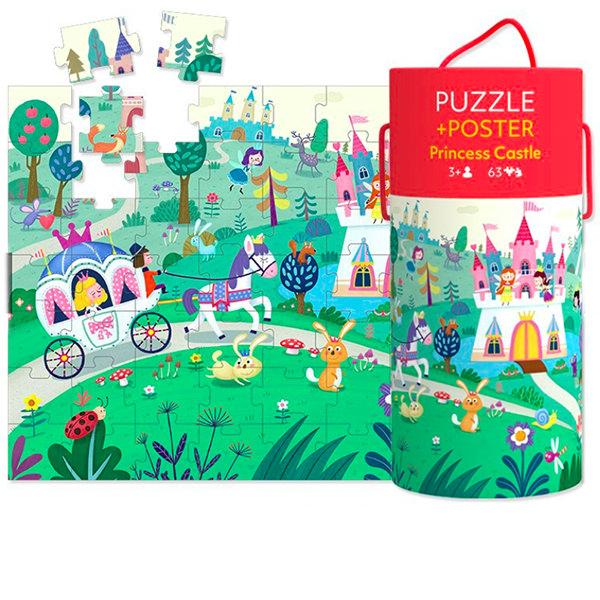 """Puzzle 63 piese """"Castelul prințesei"""" în cutie cilindrică 1"""
