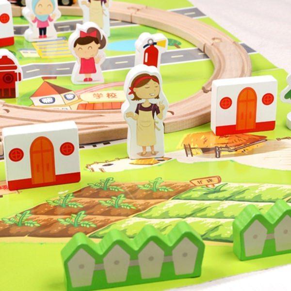 Set trenulet cu cale ferata-blocuri de construcție-scenă de trafic urban feroviar-80 piese 1