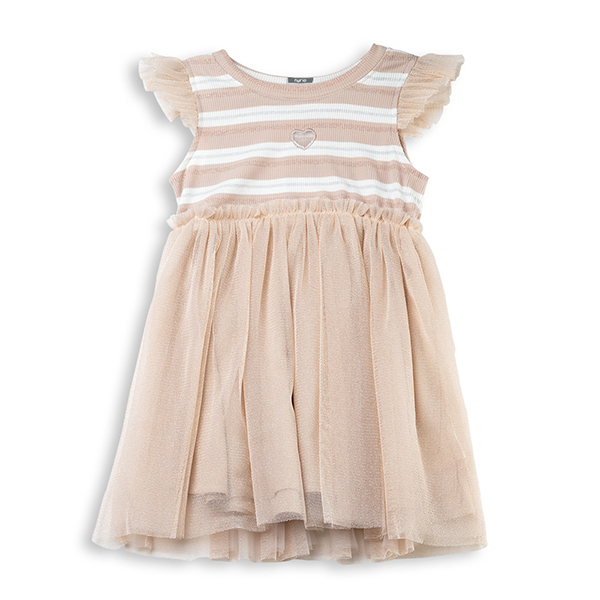 Rochie bej din bumbac si tulle [0]