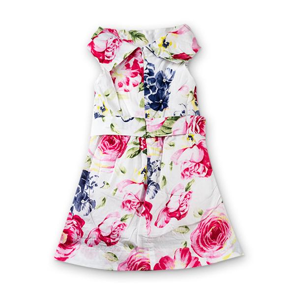 Rochie alba din bumbac cu flori 1