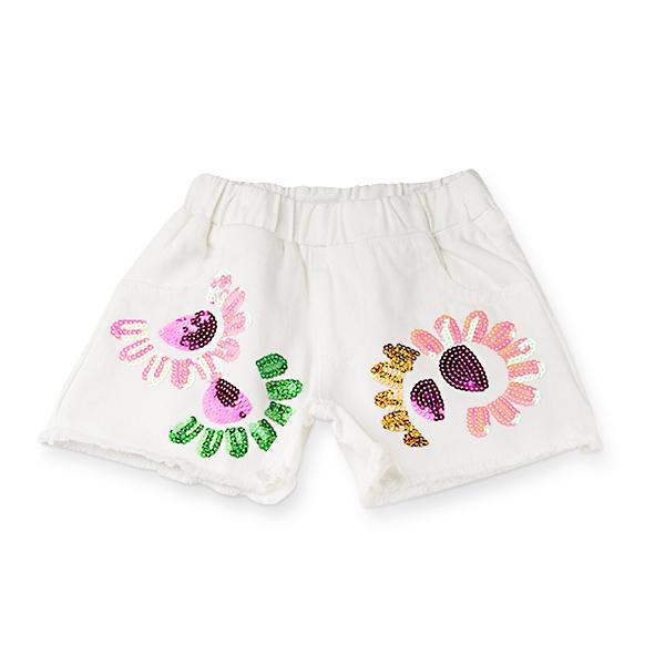 Pantaloni scurti de blugi albi cu paiete 0
