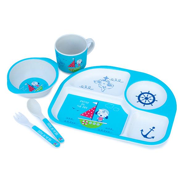 Set de masa alb si albastru cu ancora pentru copii din 5 piese [0]