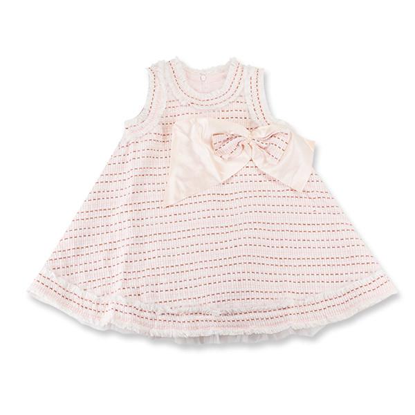 Rochie eleganta cu carouri roz si maro cu funda 0
