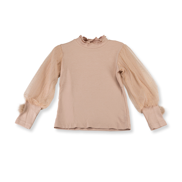 Bluza eleganta bej cu tulle 3