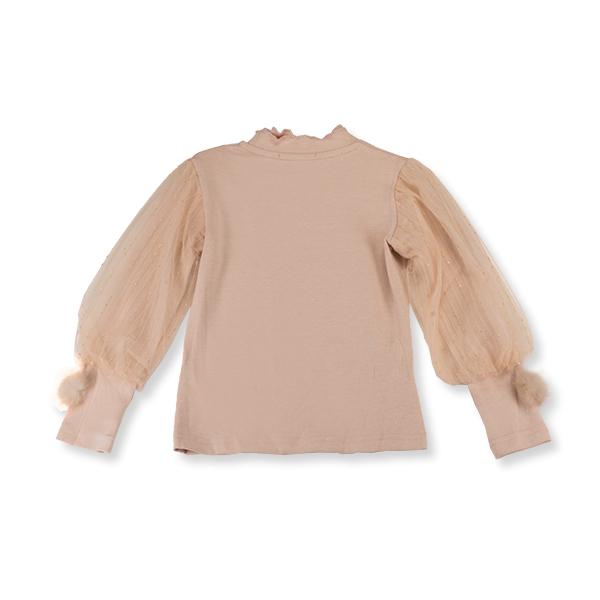 Bluza eleganta bej cu tulle 4
