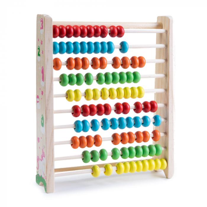 Abac din lemn cu bile colorate 0