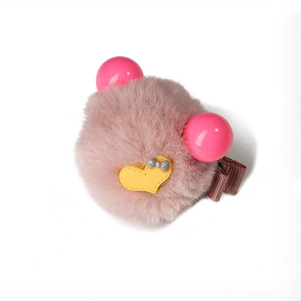 Agrafa par roz pudra tip ursulet din blanita cu inimioara 0