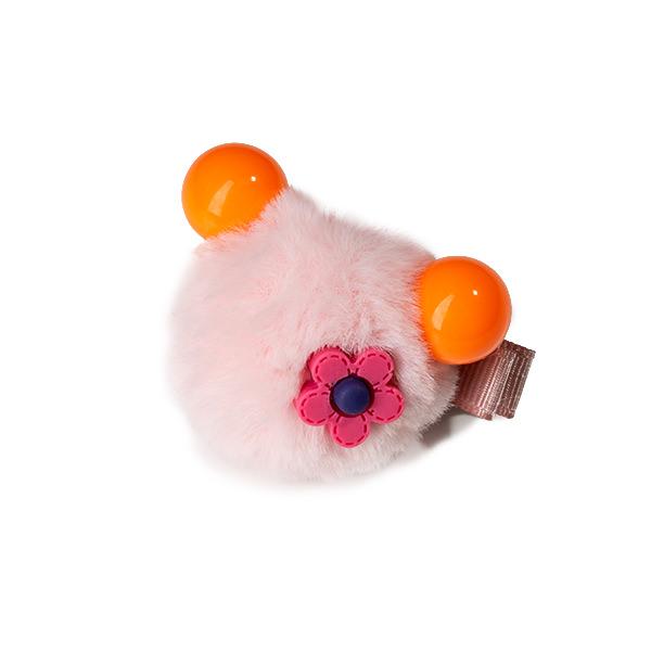 Agrafa par roz tip ursulet din blanita cu floare 0