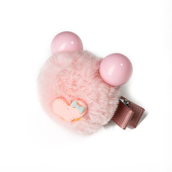 Agrafa par roz tip ursulet din blanita cu inimioara 2
