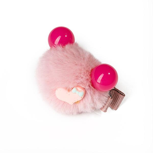 Agrafa par roz tip ursulet din blanita cu inimioara 1