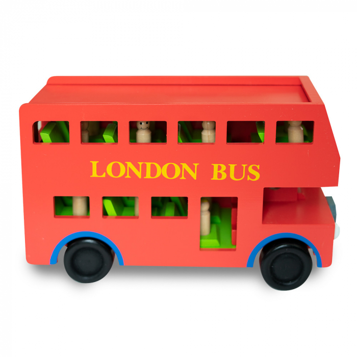 Jucarie tip autobuz din lemn supraetajat 0