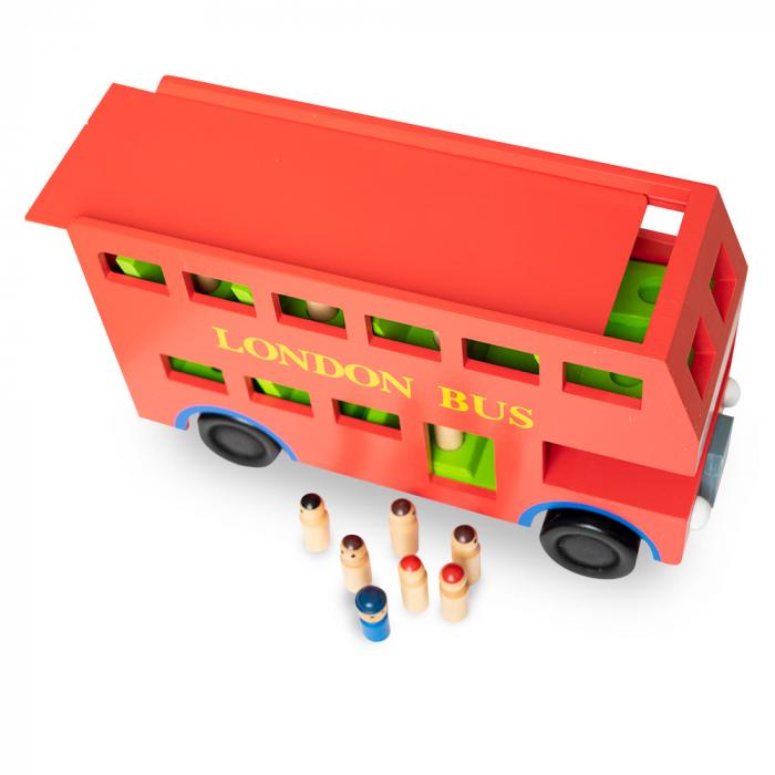 Jucarie tip autobuz din lemn supraetajat 2