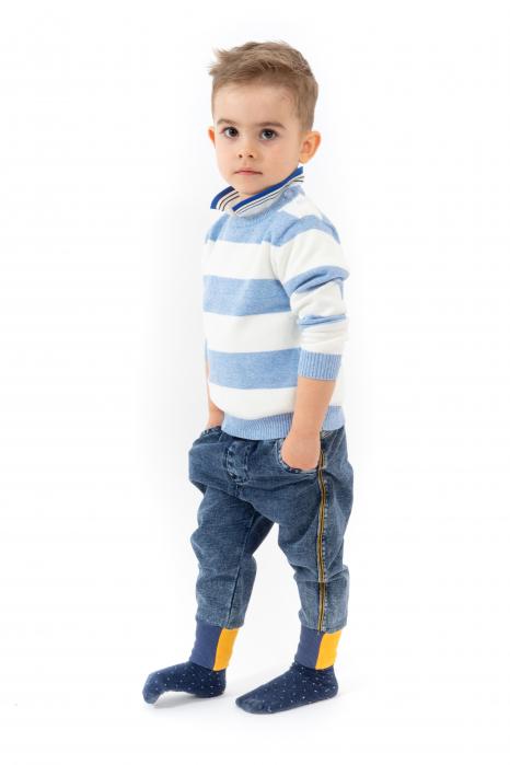 Blugi pentru baieti cu dungi galbene si manseta elastica 1