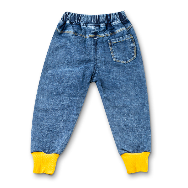 Blugi pentru baieti cu dungi galbene si manseta elastica 7