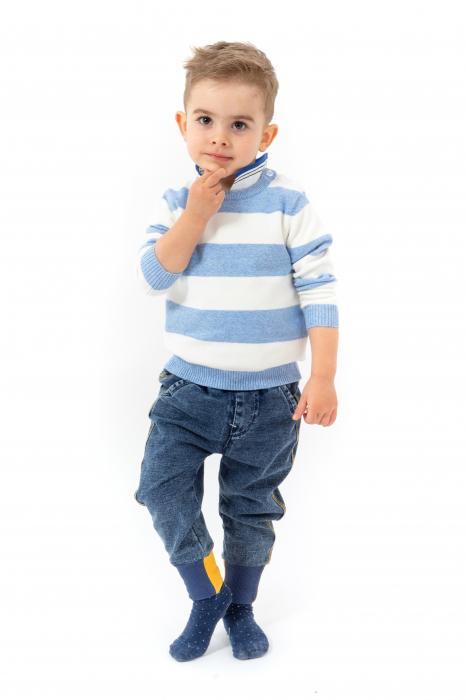 Blugi pentru baieti cu dungi galbene si manseta elastica 3
