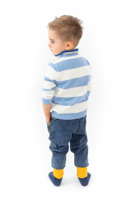 Blugi pentru baieti cu dungi galbene si manseta elastica 5