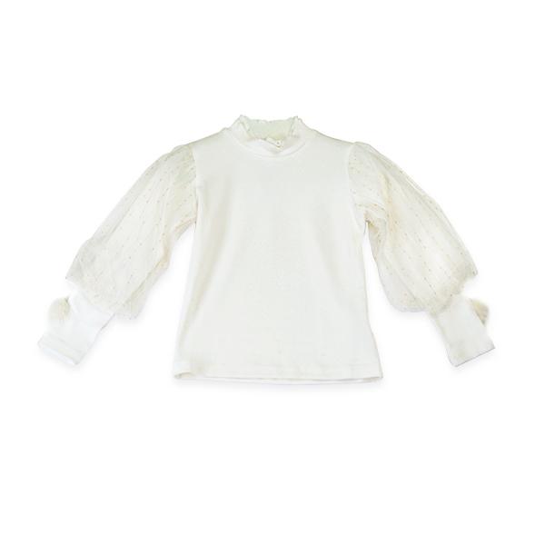 Bluza eleganta ivoire cu tulle cu maneca lunga si pompon [0]