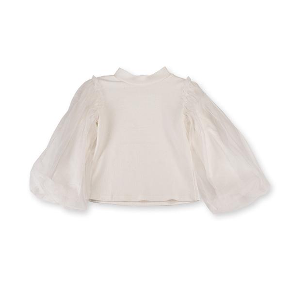 Bluza eleganta alba cu tulle 1