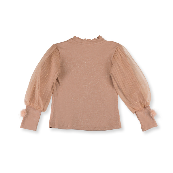 Bluza eleganta cafeniu cu tulle si pompon 1