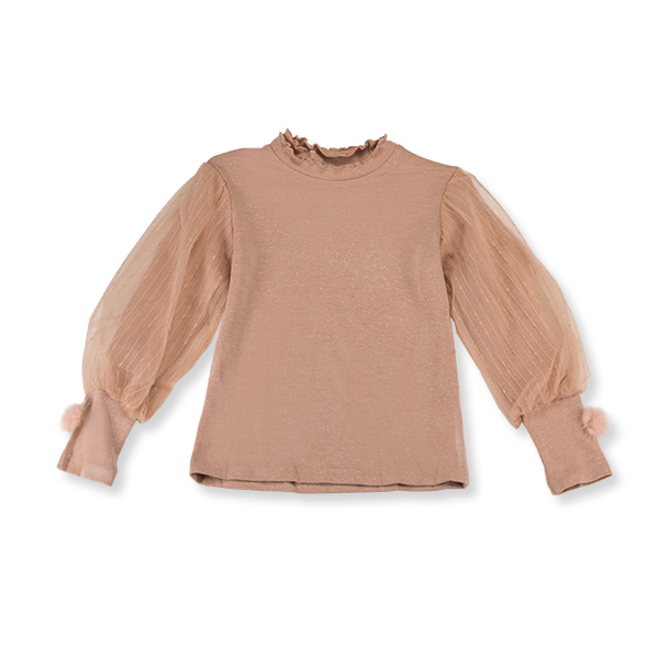 Bluza eleganta cafeniu cu tulle si pompon 0