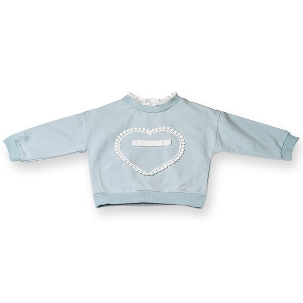 Bluza fete cu inimioara si fundita,culoare albastru 0