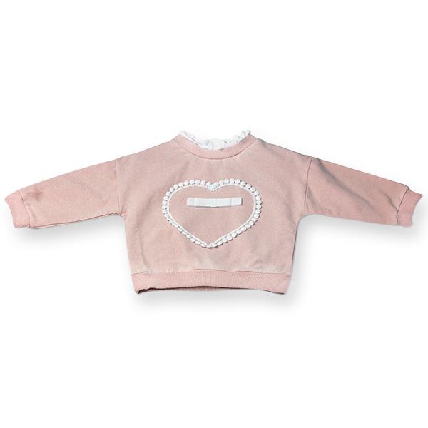 Bluza roz cu inimioara si fundita 0