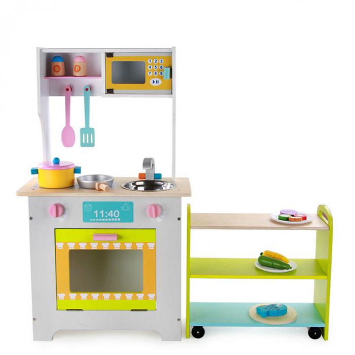Bucătărie 2 în 1 din lemn combinată pentru copii 0