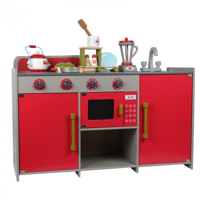 Bucătărie din lemn în  stil european cu accesorii incluse pentru copii 3