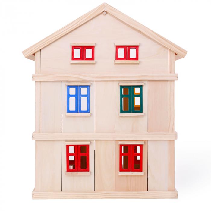 Căsuță de păpuși  realizată manual cu trei nivele cu mobilier și jucării educative din lemn pentru fete 3