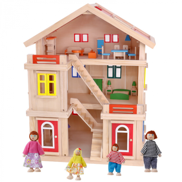 Căsuță de păpuși  realizată manual cu trei nivele cu mobilier și jucării educative din lemn pentru fete 0