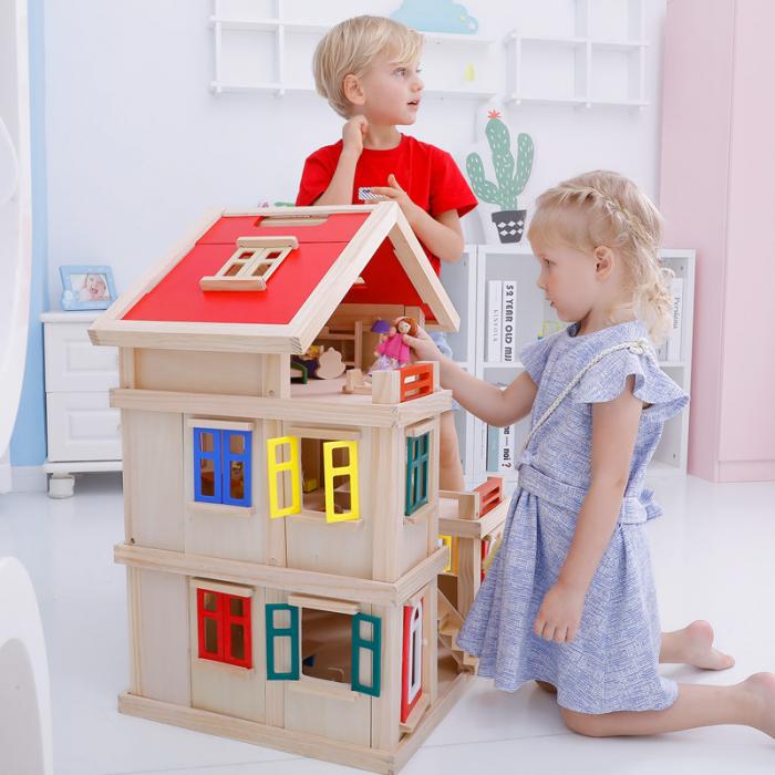 Căsuță de păpuși  realizată manual cu trei nivele cu mobilier și jucării educative din lemn pentru fete 2