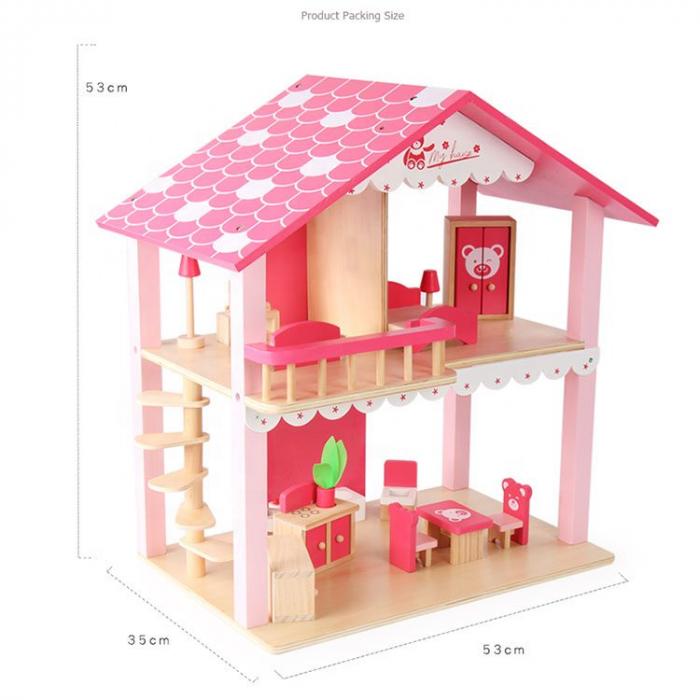 Căsuță de păpuși roz realizată manual cu mobilier și jucării educative din lemn pentru fete 2